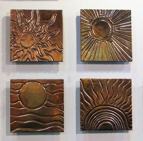 Four suns carved 12 x12 tile mural from jason messinger for Ceramic wall mural