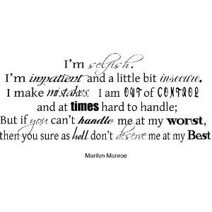 """Marilyn Monroe Quote """"I'm selfish"""" - Vinyl Wall Words Lettering Decal Sticker"""