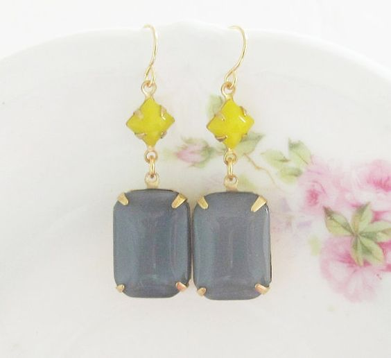 Yellow and Gray Earrings - Vintage Gray Rectangle and Yellow Square Moonstone Dangle Earrings - Wedding, Bridal, Bridesmaid