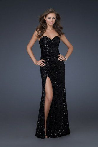 Black Strapless Sparkly Sequin Prom Dress with Slit - dresses ...