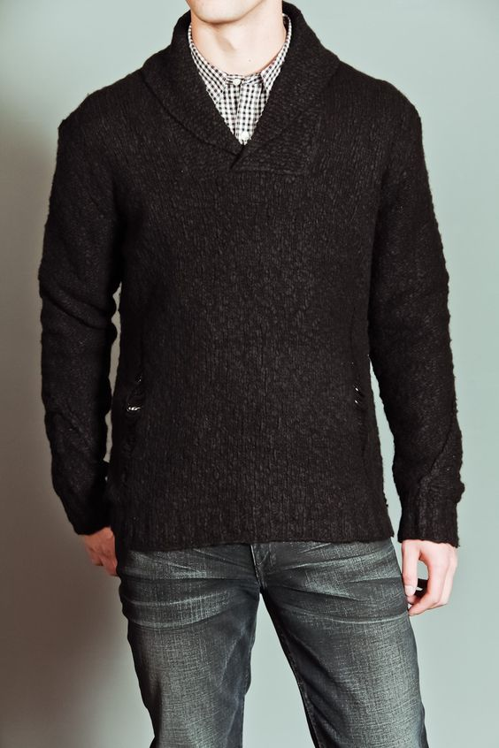 Edun Shawl Collar Sweater. Nice cuff detail.