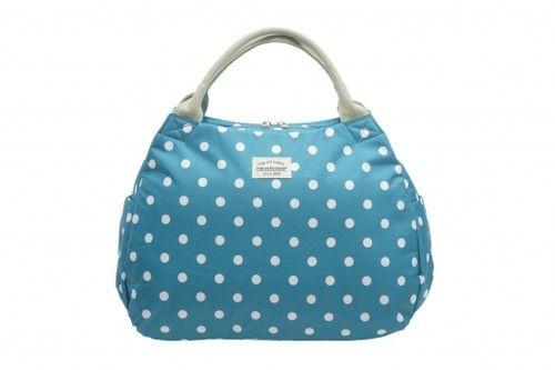 Cykelväska Tosca Polka Blue.  En handväska som gör dig pigg och glad när du går på stan!