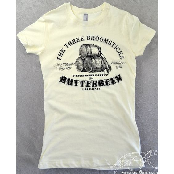 HARRY POTTER SHIRT Gals Butterbeer at The Three Broomsticks at Hogsmead Fitted Stretchy Ivory Ringspun Cotton