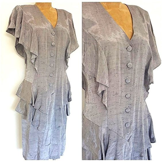Vintage 80's Gatsby Dress Size Medium Cocktail Party Costume Pencil Ruffle…