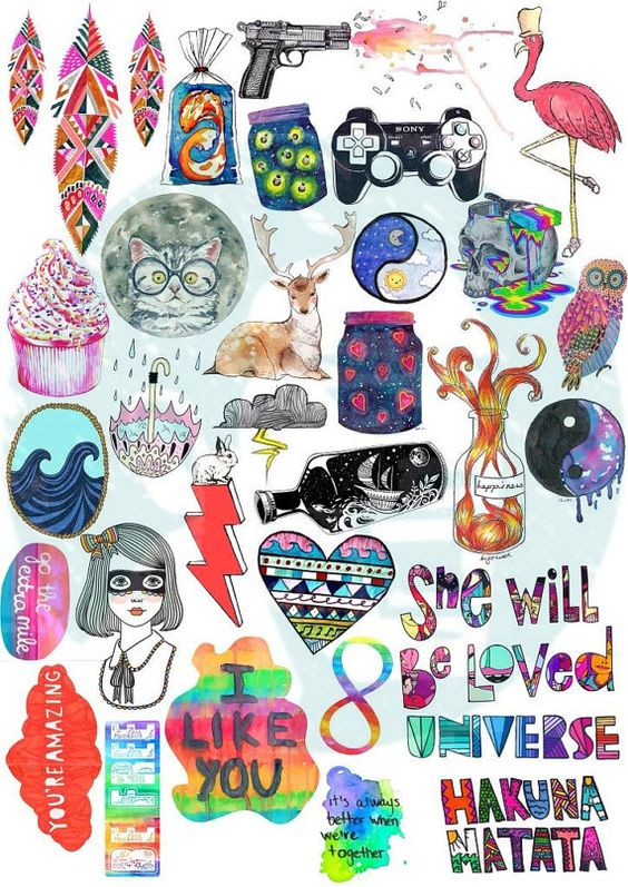 Set 46. Tumblr Stickers. Stickers. Set of by BestStickersClub
