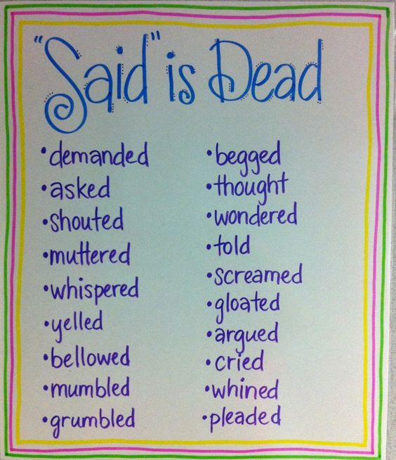 """Said is Dead""...Encourage descriptive writing with these alternatives to ""said""."