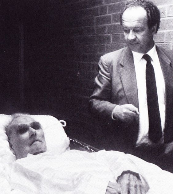 Wolf Rüdiger Hess with the corpse of his father Rudolf after he committed suicide in Spandau Prison on August 17th, 1987. The Hess family has never believed in the suicide of their relative.