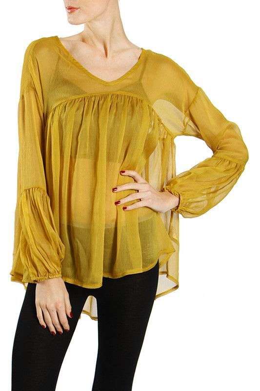 High Low Loose Fit See-Through Top with Shirring on Chest Seam Line