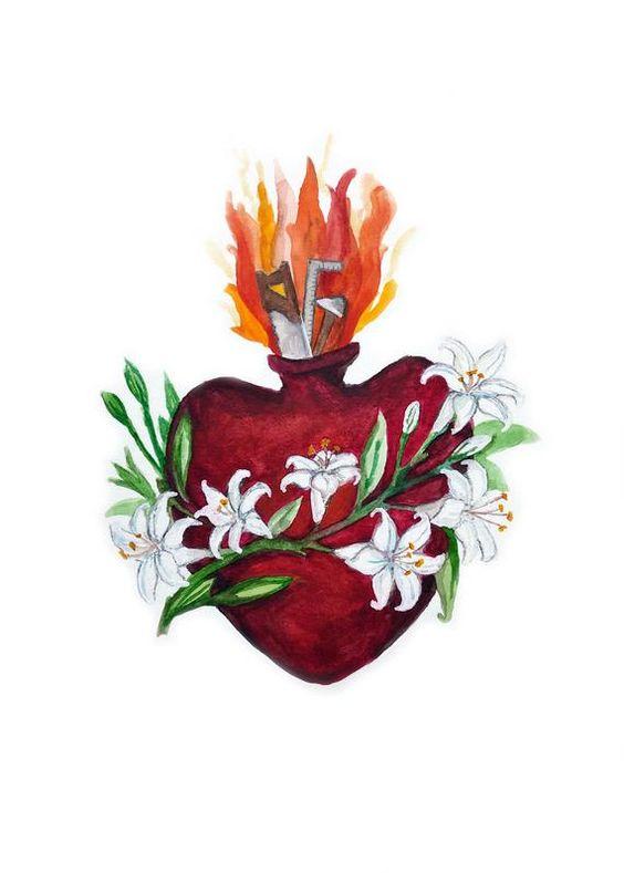 Chaste Heart Pure Heart Of Joseph Watercolor Print Saint Etsy Arte Catolica Nossa Senhora Do Parto Imagens Religiosas