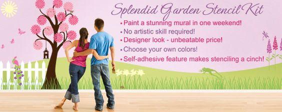 Flower Wall Stencils – Tree Stencil – Butterfly Stencils – Girls Room Painting Design