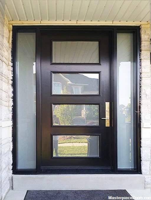 Modern Black Single Front Entry Door 4 Panel With Sidelights In 2020 Entry Doors Front Entry Doors Iron Front Door