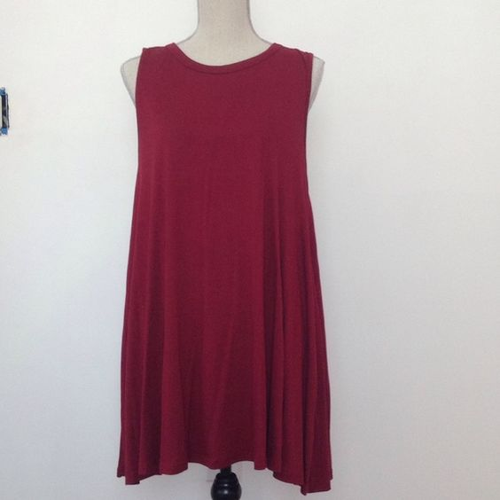Burgundy t shirt dress Brand new never been worn mini dress t shirt material, the length is the same one as the grey dress in the pictures - offers accepted!! Dresses Mini