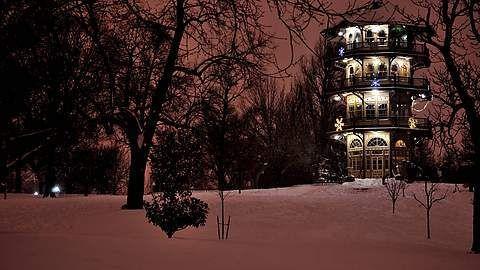 Patterson Park (Baltimore) on a Snowy Night [OC] [4288 X 2848] | by appletvscreensavor