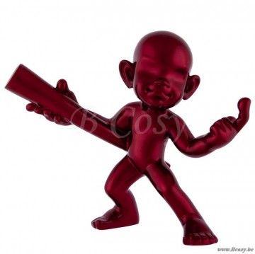 """J-Line Beeld Rode karate man met stok op sokkel rood 35h <span style=""""font-size: 0.01pt;"""">Jline-by-Jolipa-56968-personnage-deco-karate-sur-socle-en-resine-rouge</span>"""