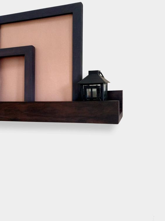 Picture Frame Ledge in Firewood. Floating Shelf, Wall Shelf.