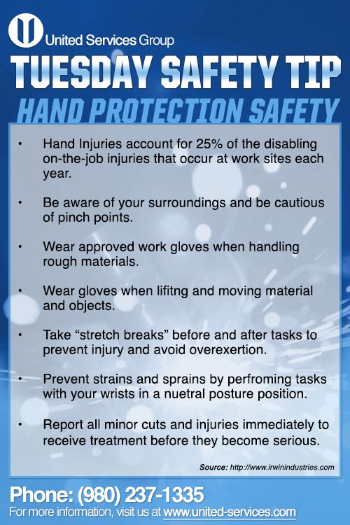 This safety poster identifies the main hand hazards ... |Hand Safety Tips