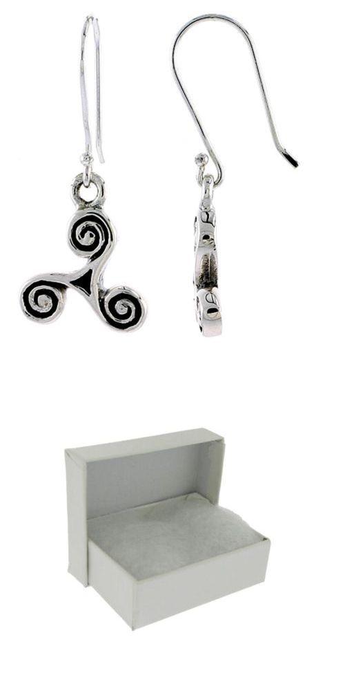 Irish Celtic Threefold Knot Dangle Hook Earrings .925 Sterling Silver