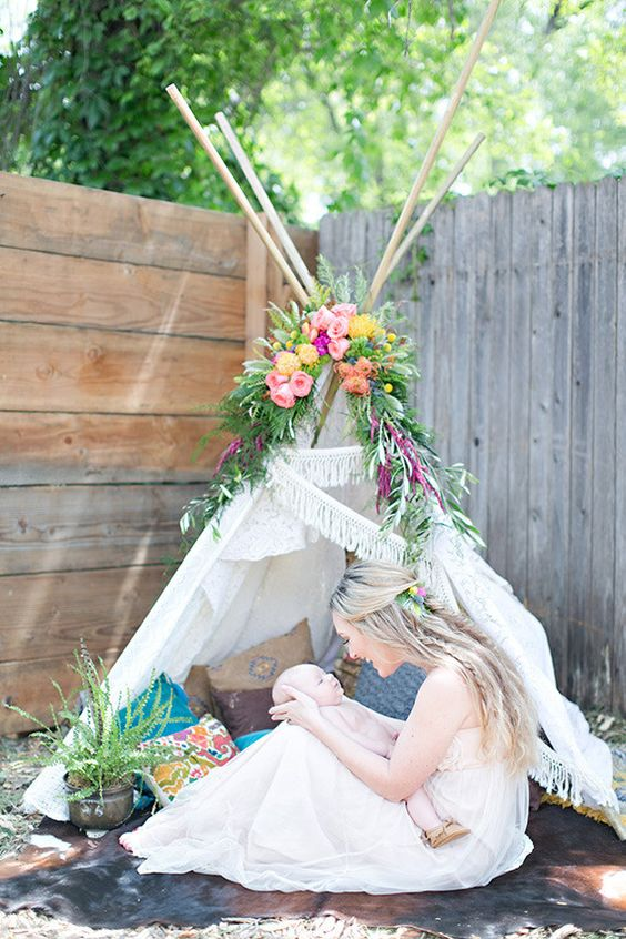 Boho baby shower on 100 Layer Cakelet. Floral bohemian teepee. Location | The Studio Collective: Grass Valley, Ca, Floral Design | Bee, Leaves N'  Love, Vintage Rentals | Roots Reclaimed, Photography | Lydia Photography, Event Coordinator | Tasha Gold Events