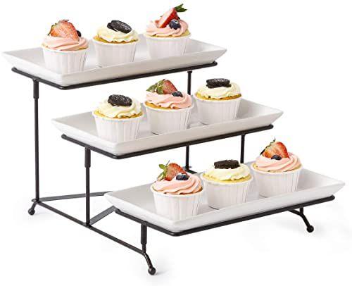 Best Seller 3 Tier Serving Stand Collapsible Sturdier Rack 3 Porcelain Serving Platters Tier Serving Trays Fruit Dessert Presentation Party Display Set Online In 2020 Dessert Presentation Serving Platters Fruit Desserts