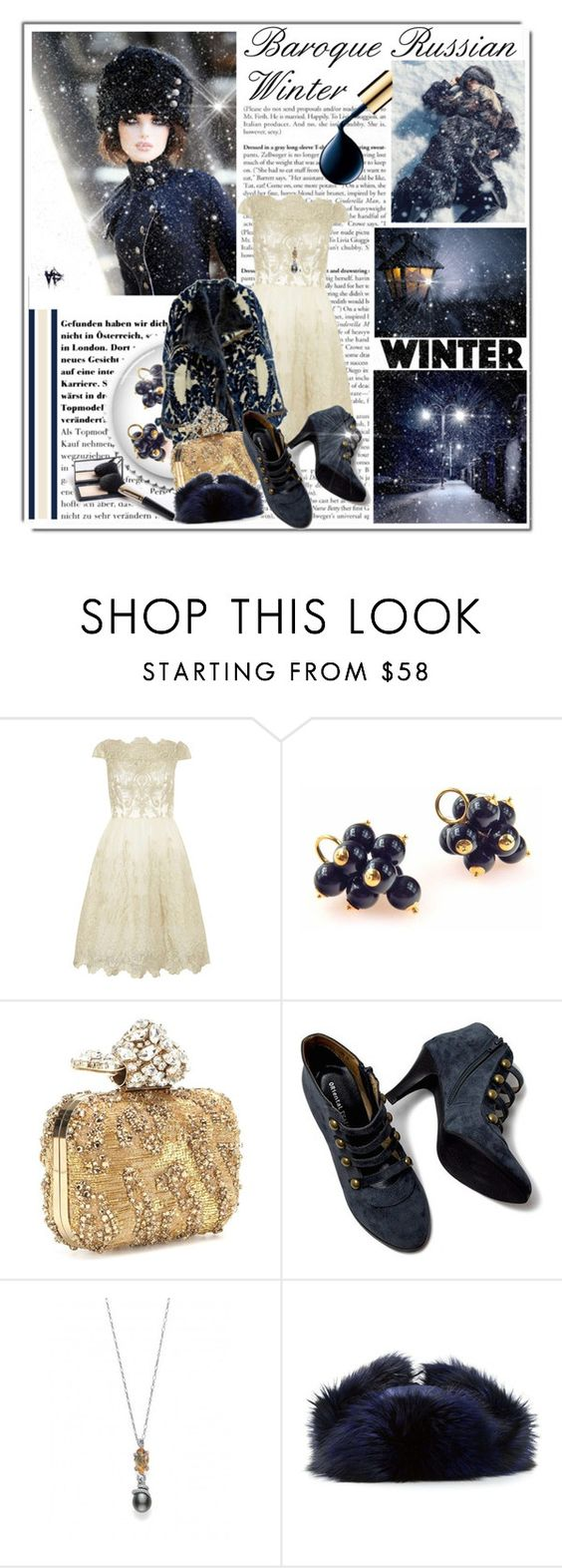 """""""Baroque Russian Winter"""" by queenrachietemplateaddict ❤ liked on Polyvore featuring Disney, Dorothy Perkins, Jimmy Choo, Mikimoto and Liska"""
