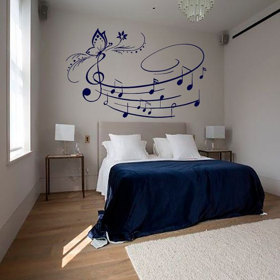 Wall Decals In Dorms : Wall decals music decal vinyl sticker butterfly musical