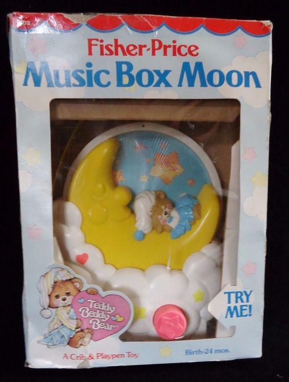 Vintage Teddy Beddy Bear Music Moon Crib Fisher Price Toy