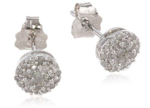 ... 10k white gold round diamond cluster earrings 1 4 cttw i j color i2 i3