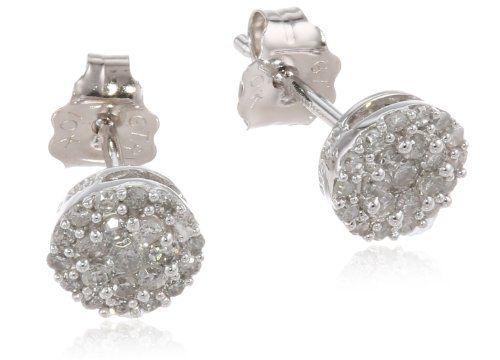 ... 10k white gold round diamond cluster earrings 1 4 cttw i j color i2 i3