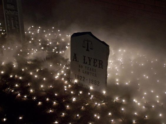 Halloween cemetery-something different with net lights..by Halloween Forum member Kritze