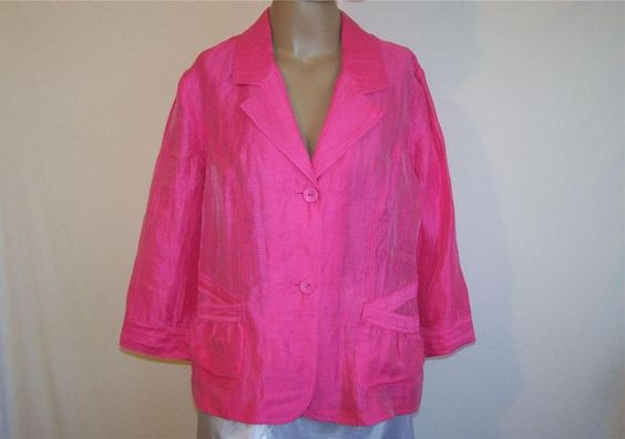 CHICO'S Sz 2 Jacket Hot Pink Linen Nylon 3/4 Sleeves Button Front M 12/14 NEW #Chicos #BasicJacket