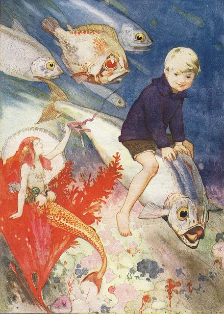 1922 A. E. (Albert Edward) Jackson (English, 1873-1952) ~ The Water-Boy's Visit To The Sea Fairy: Water Boy S, Sea Illustration, Fairy Tales, Boy S Visit, Boy Visit, Mermaid Land, Mermaids Sea