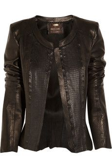 Roberto Cavalli | Leather and snakeskin jacket | NET-A-PORTER.COM