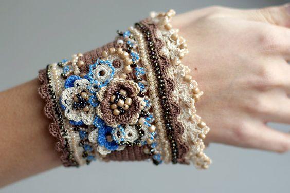 Crochet bracelet  cacao cream and blue by ellisaveta on Etsy, $68.00: