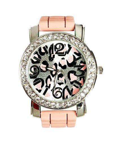 Leopard Print Watch - Rhinestone Rubber Watch