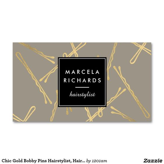 Chic Gold Bobby Pins Designer Business Cards for Hairstylists and Salons - Fully Customizable
