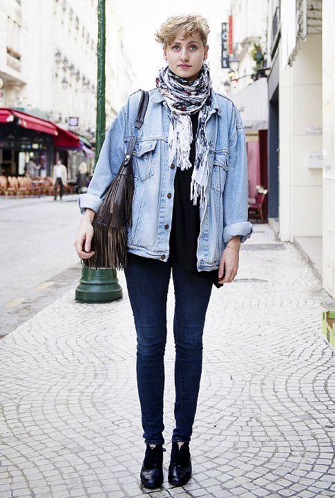 Paris Street Style - Paris Street Fashion Photos | Denim jacket ...