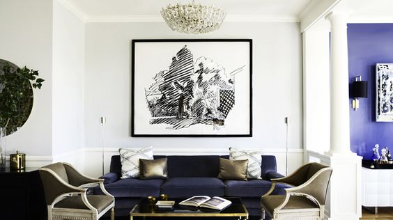 Designer Crush: @Catherine Wong // living room // blue sofa, bronze pillows, bronze chair, black and white abstract artwork, midcentury modern chandelier