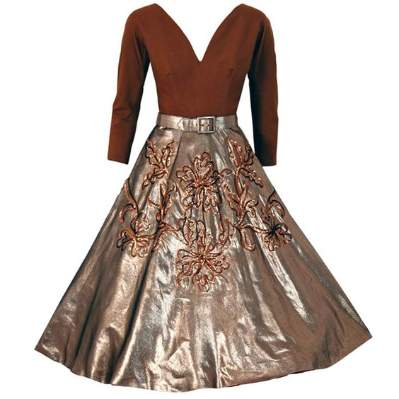 1950's Sequin Metallic-Gold Lame & Wool Circle-Skirt Party Dress