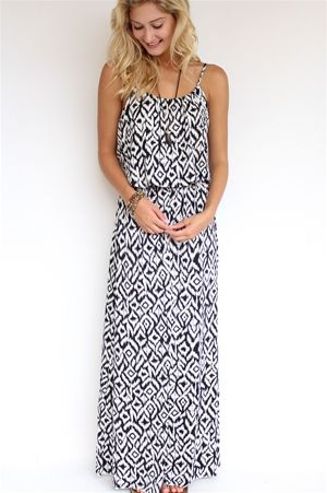 Black + White Ikat Maxi Dress from 64 sixty-five at Rosie True
