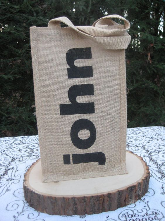 Wine Bag Rustic Wedding Burlap Personalized 2 by YourDivineAffair