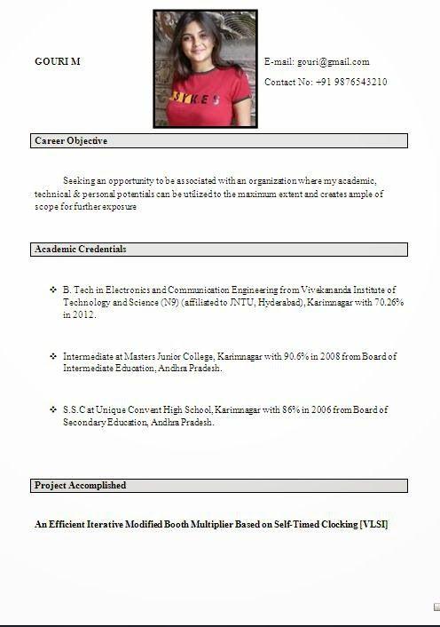 Resume For Freshers Sachin Kumar Sachinsimon007 On Pinterest