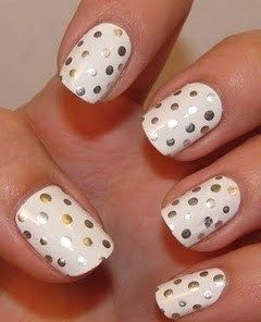 White Nail Polish with Silver Sharpie