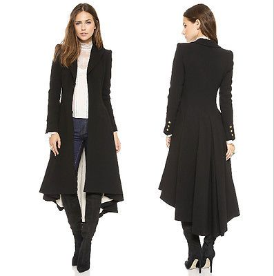 Ladies Long Black Jacket T43j7t