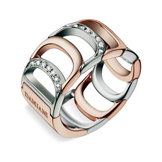 Damiani 'Damianissima' Diamond Ring in Rose and white gold