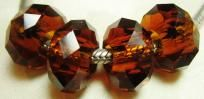 4 Dark Amber Chinese Crystal Glass Rondelle Beads Cable style about 14x8mm 5mm Hole $4.40 free shipping in USA
