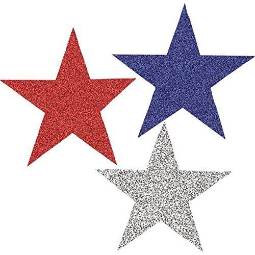 Patriotic Assorted Red White Blue Star Cutouts 10 Piece