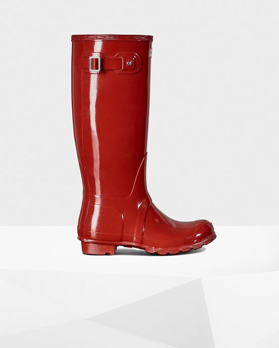 Womens Red Tall Gloss Rain Boots | Official US Hunter Boots Store