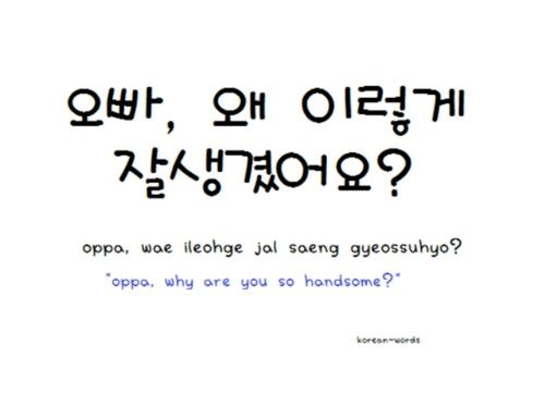 """Oppa, why are you so handsome?"" :3"