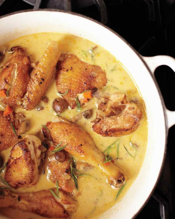 Martha Stewart's Chicken Fricassee (Fricassee De Poulet a L'Ancienne) aka Coq Au Vin Blanc- chicken in white wine sauce. Used boneless/skinless chicken breasts- omitted tarragon [but would definitely consider adding it- just didn't have any.] Used additional white wine in place of some chicken broth. Super tasty.