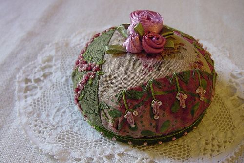 Crazy-quilt pincushion  Tutorial included (uses a CD to make it!)